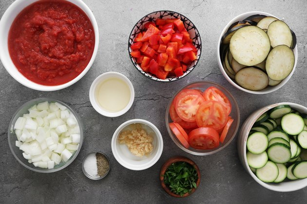 Ingredients for rustic ratatouille
