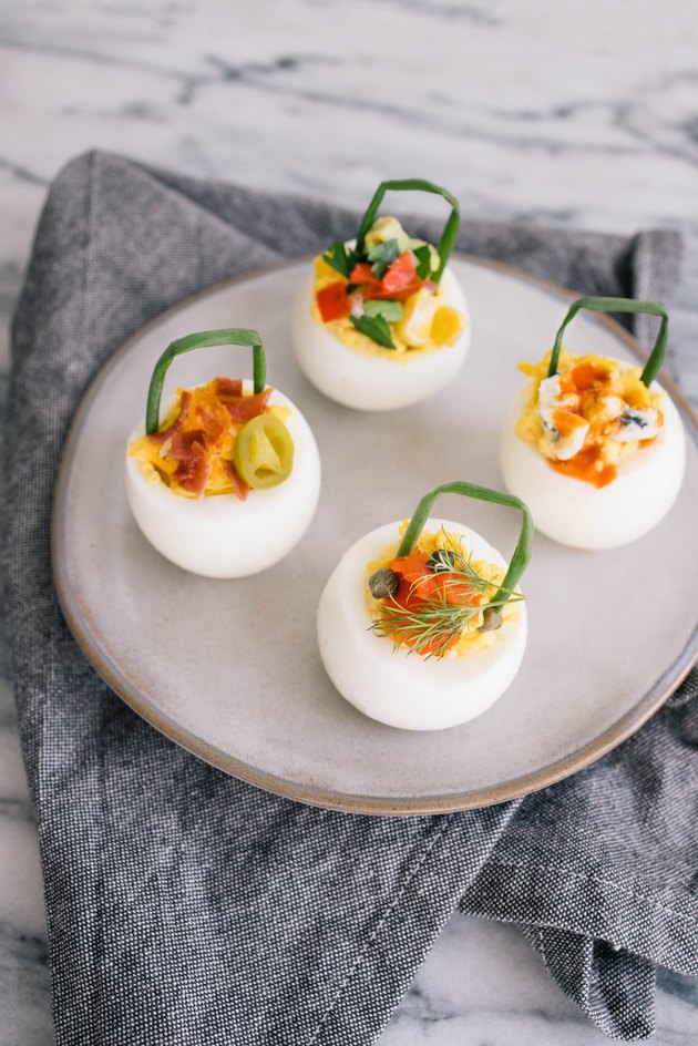 DIY deviled egg baskets with gourmet toppings