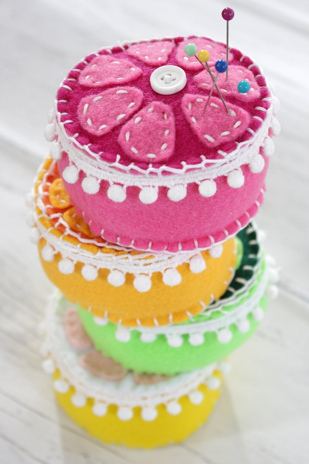 Give one of your hardest working sewing tools the presentation they deserve with a bright handmade pin cushion.