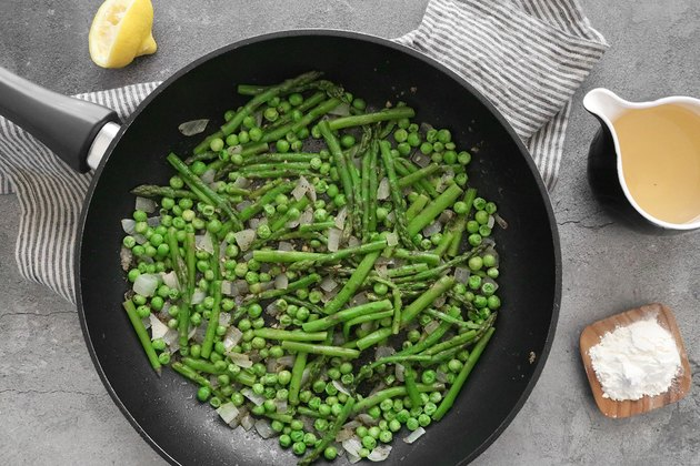 Add asparagus and peas