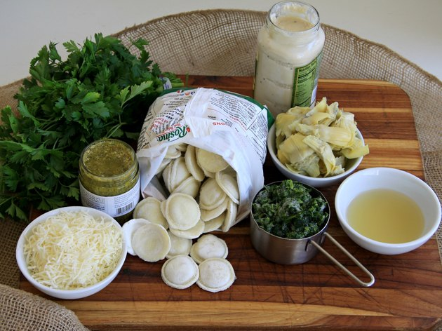ingredients for spinach and artichoke ravioli casserole