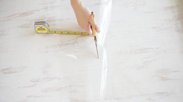 Cutting strip of cellophane