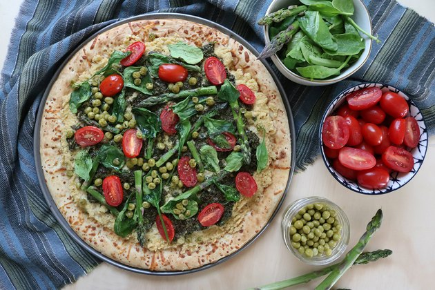 Vegan spring garden pizza