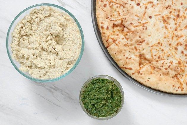 Vegan spring garden pizza ingredients