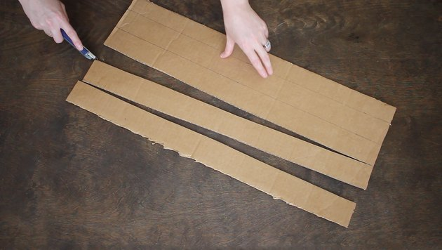Cutting long strips of cardboard