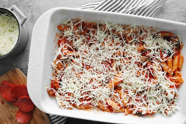 Add pasta and cheese to casserole dish