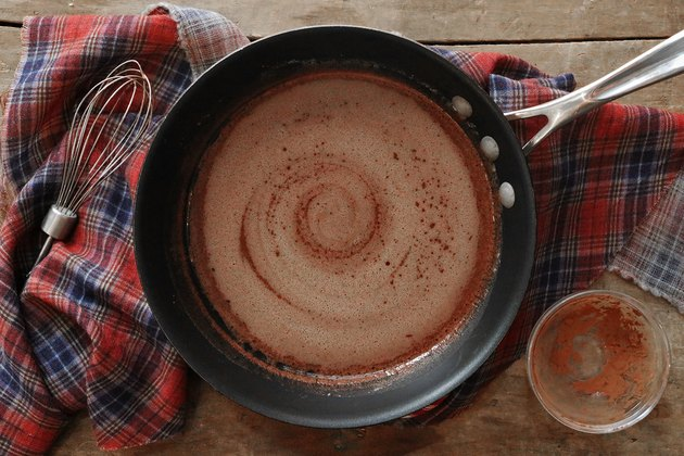 Melt butter and cocoa powder