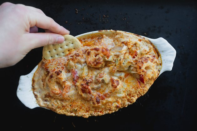 Spicy Cajun Shrimp Dip is very cheesy and best served warm.