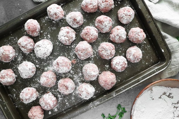 Roll the meatballs in all-purpose flour