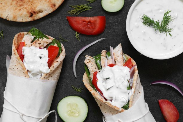 Chicken gyros with fresh tzatziki sauce