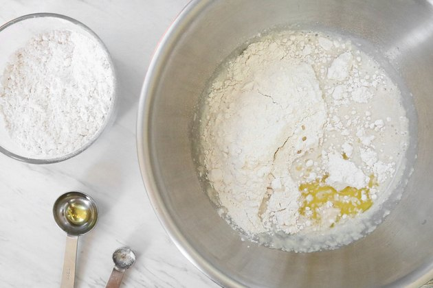 Add flour to yeast mixture