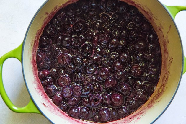 Cherry filling in a pot.