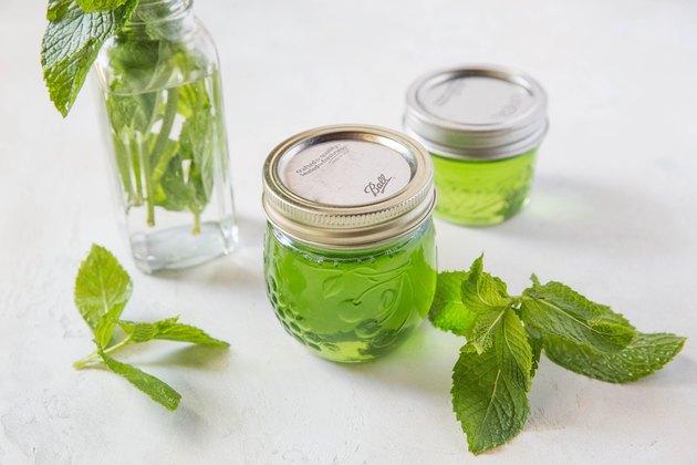 Jars of mint jelly