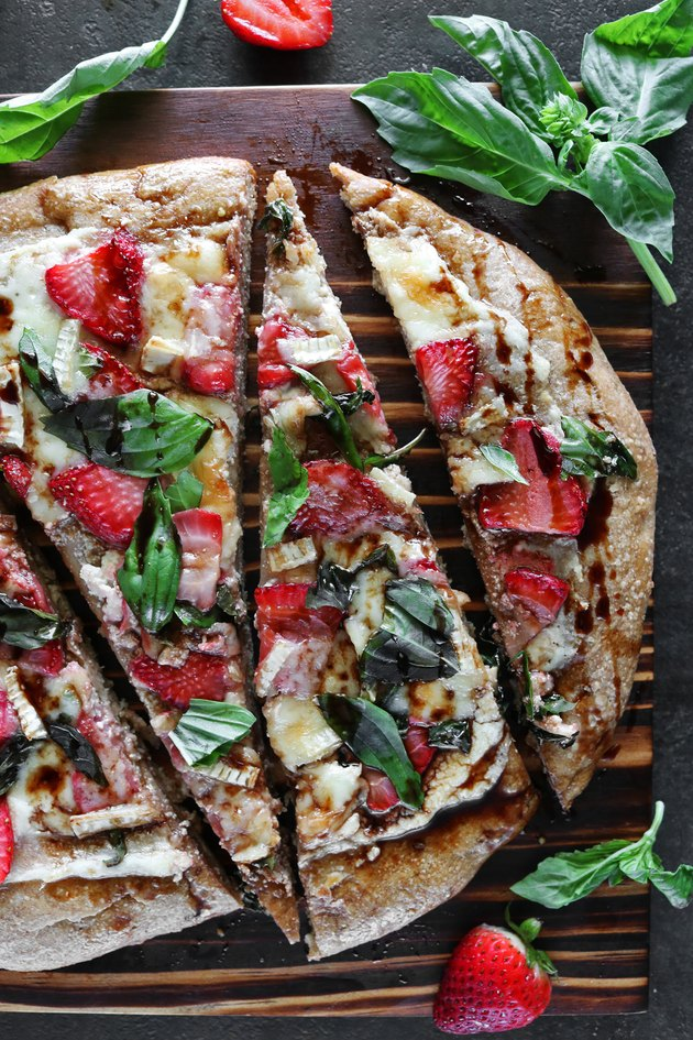 Strawberry balsamic brie pizza