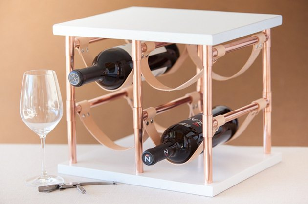 How to Make a Copper Pipe and Leather Wine Rack