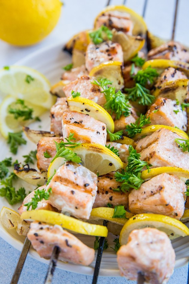 salmon kabobs on a plate