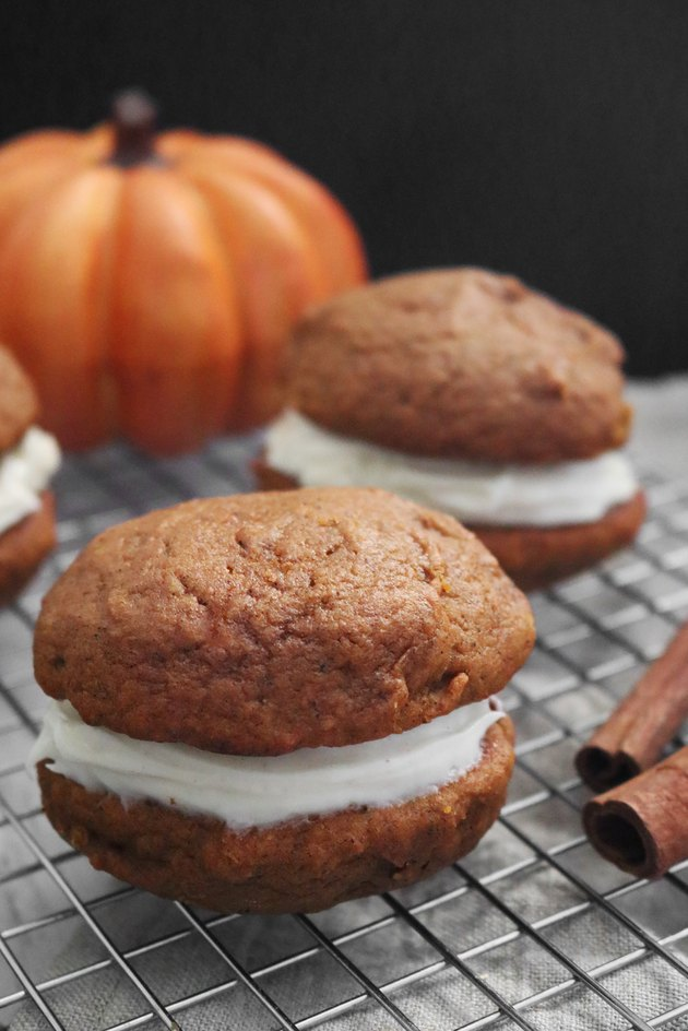 Spiced pumpkin whoopie pies with maple cream cheese frosting