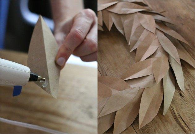 Glue smaller leaves