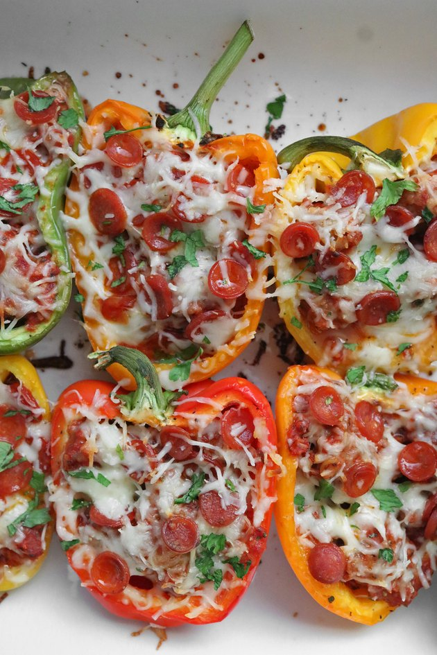 Pepperoni pizza stuffed bell peppers