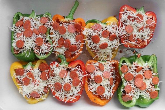 Add mozzarella cheese and pepperoni
