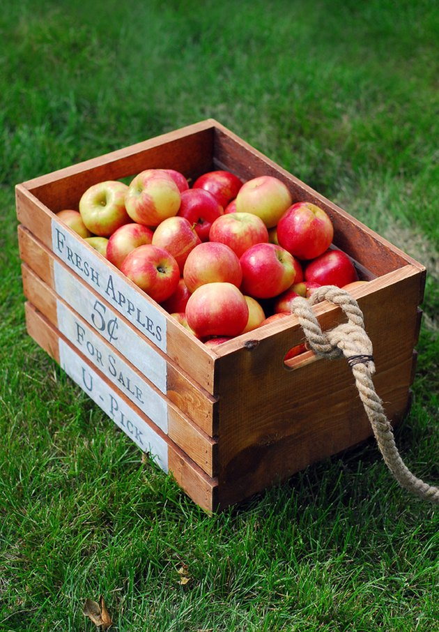 Apple crate with rope handle