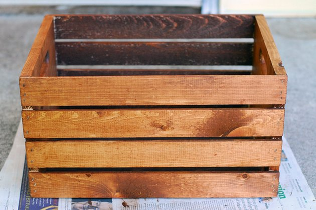 Stained wooden crate