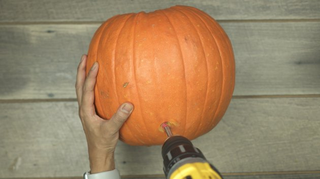Using Forstner drill bit to cut a hole into a pumpkin to make DIY Pumpkin Keg