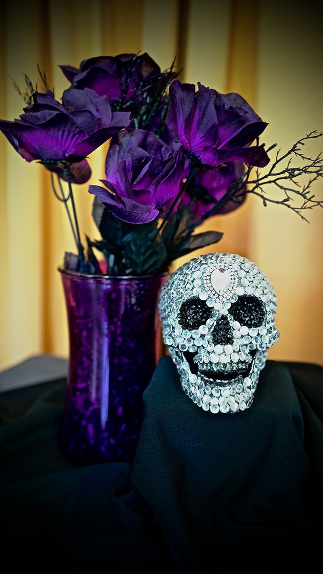 DIY Gemstone Studded Halloween Skull