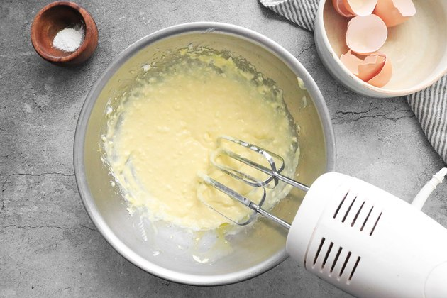 Beat cream cheese and egg yolks