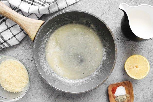 Melt butter and add flour