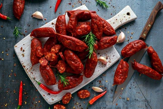 Spanish pork chorizo sausages made with paprika, garlic, chilli and rosemary
