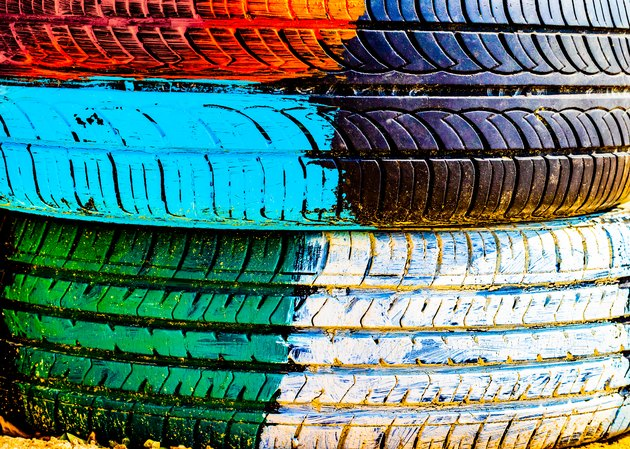 Paint stains on the wall. Graffiti wall. Colorful painting on a concrete wall. Car tire texture.