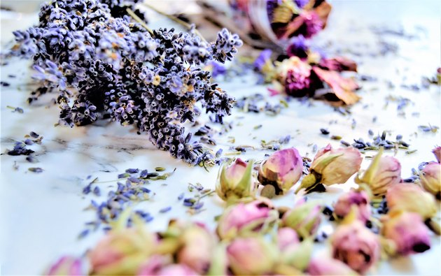 A bouquet of lavender flowers with dried flowers to decorate