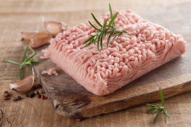 Minced chicken or turkey meat