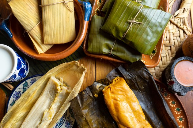 Mexican tamal in banana and corn leaf