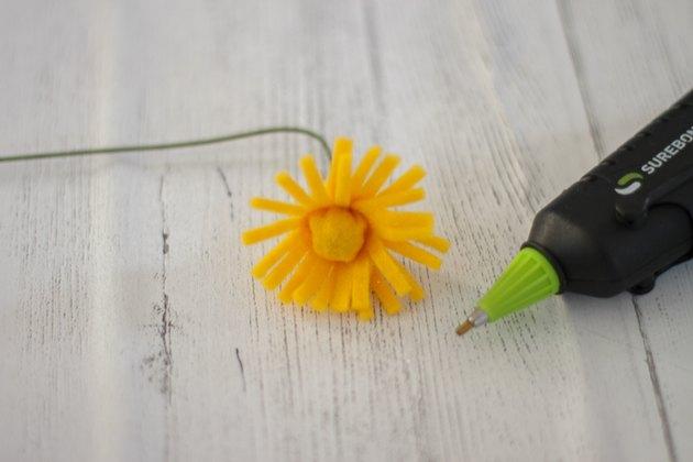 attach fringe to flower center