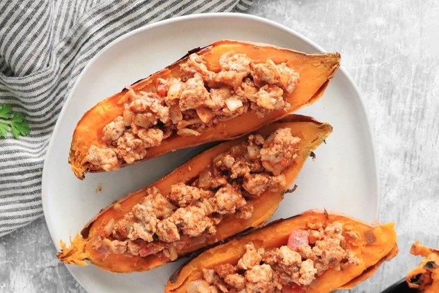 Add turkey to sweet potatoes