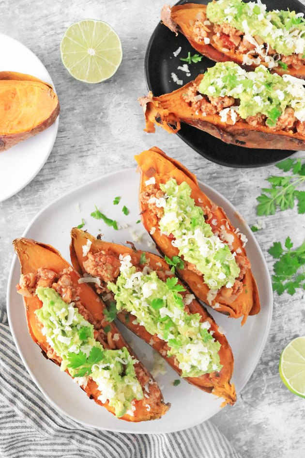 Completed turkey taco stuffed sweet potatoes