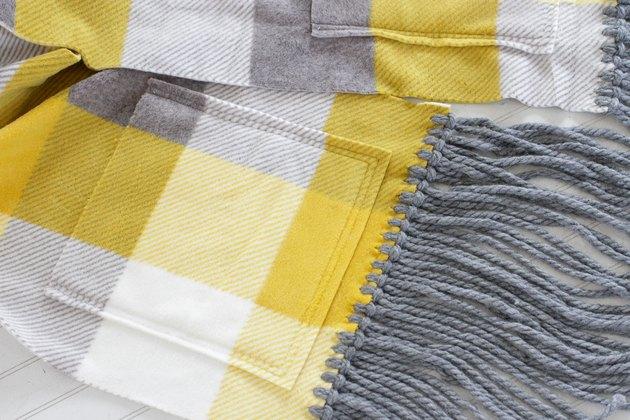 close up of fleece pocket scarf