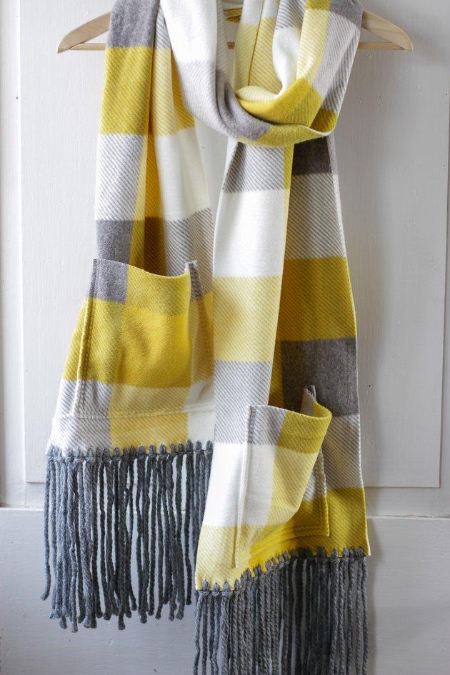 fleece pocket scarf on hanger