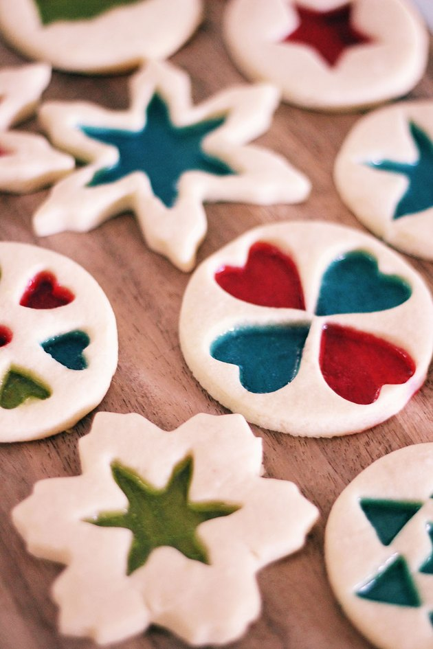 Completed batch of stained-glass cookies