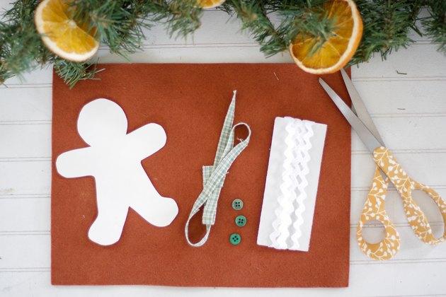 Materials for DIY felt gingerbread ornaments