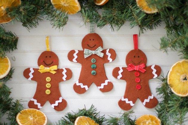 Set of three completed felt gingerbread man ornaments