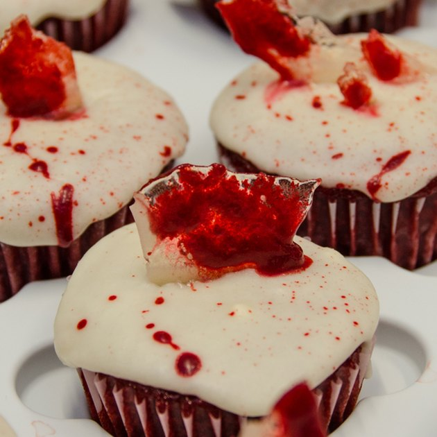 """Cupcakes topped with bloody """"glass"""" candy"""