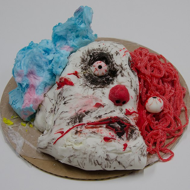 Demented clown cake with cotton candy hair