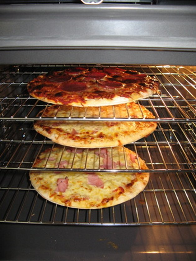 pizzas in an oven