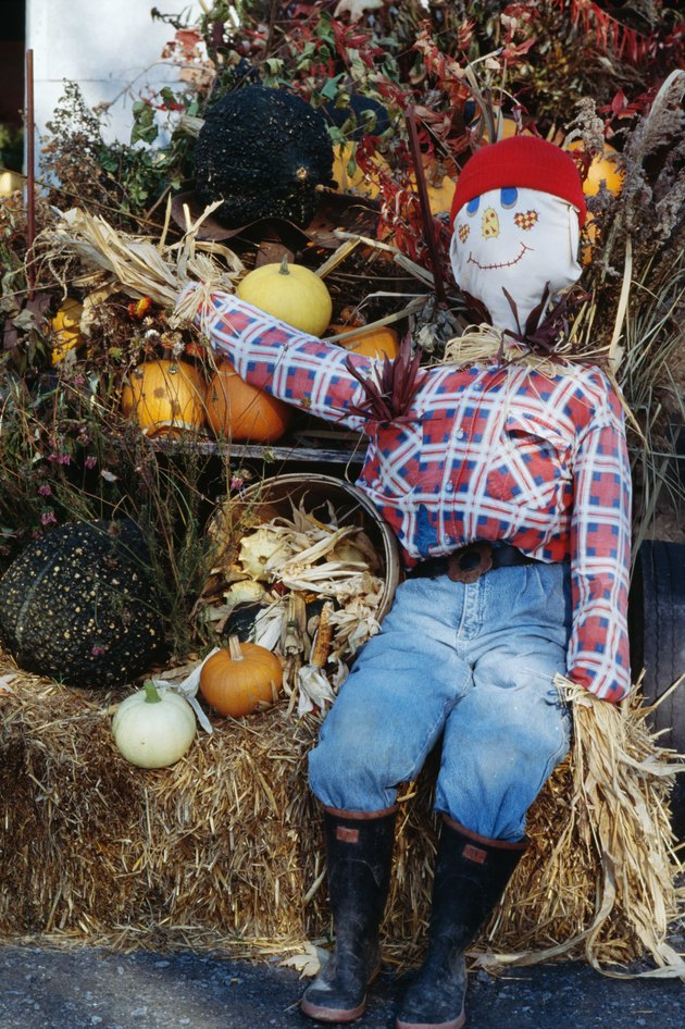 Scarecrow with Autumn decorations