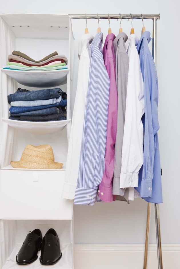 Clothes in shelving unit