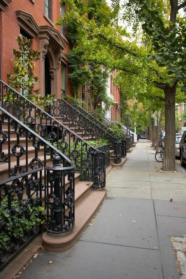 Brownstone row houses in Manhattan, New York City