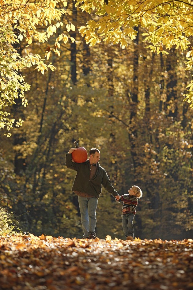 Father and son walking through fall forest with pumpkin
